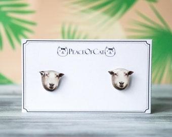 sheep jewelry , animal earrings , lamb earrings , sheep studs , sheep gifts , animal jewelry , animal studs