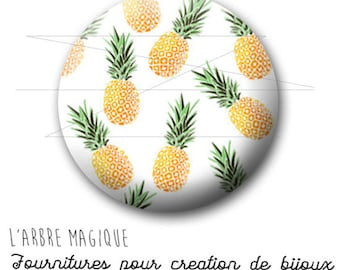2 cabochons glue pineapple fruit exotic ref 1745 - 16 mm.
