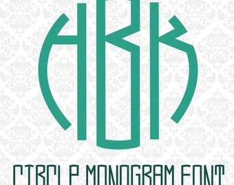 Circle Monogram Font OTF Letters Monograms Alphabet SVG DXF Ai Eps Png Vector Files Instant Download Commercial Cut File Cricut Silhouette
