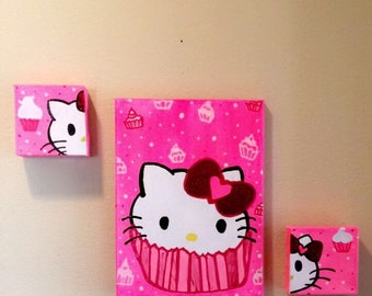 Hello Kitty Cupcake home decor, wall art handpainted