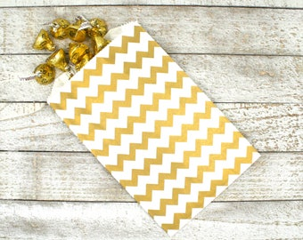 Kraft paper favor bags, set of 20 party favor bags, white with gold chevron stripe, candy buffet, goodie bags, middy bitty bags, favor bags