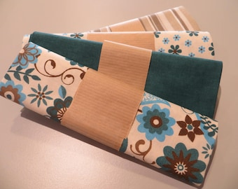 four cut 100% cotton fabric 50 x 50 cm, Teal and beige/brown tones