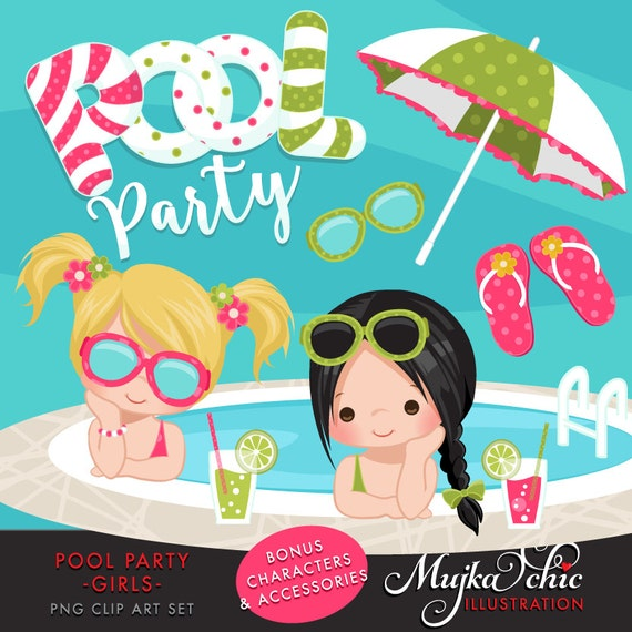Pool Party Clipart for Girls. Little girls with pool party