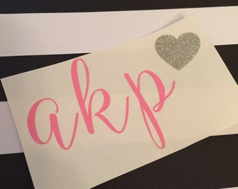 Initial Decal with Heart in Sweet Peach Font