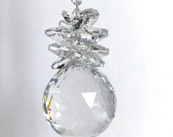 Swarovski Crystal Ball, Pineapple Suncatcher, Feng Shui, Glass Art, Window Mobile, Car Rear View Mirror, Glass Art Ornament, Wedding, 8984