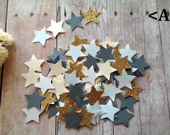 Twinkle Twinkle Little Stars/Gold Glitter star Confetti/Blue and Gold Star Confetti/ Star die cuts/Gold and Blue Star Confetti/Paper stars