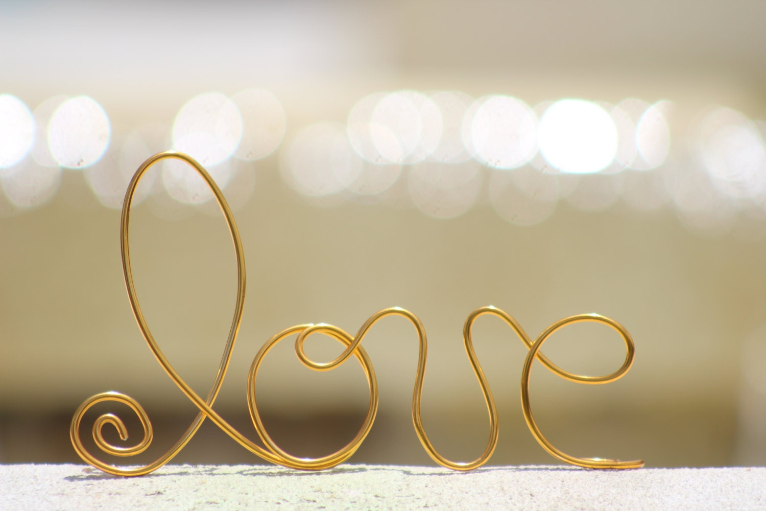 Gold Wire Love wedding Cake Toppers Decoration Beach
