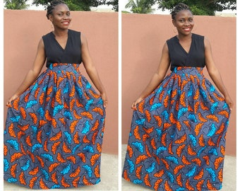 African maxi skirt , Ankara fabric, African fabric, African clothing, women clothing, maxi skirt, Ankara skirt