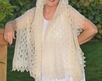 Hand knitted rectangular shawl, off white/ ecru color, with beautiful lace pattern, woolen scarf, woolen shawl.