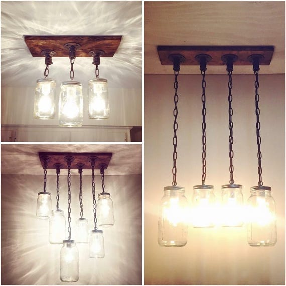 Rustic Industrial Modern Mason Jar Lights Vanity Light: Rustic Industrial Modern Handmade Mason Jar Chandeliers/Rustic