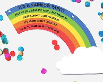 Rainbow Party Invitation, Printable, Invite, Rainbow Baby, Rainbow Birthday, Kids, Birthday, Party, Invitation, Rainbow
