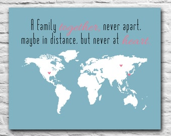 Personalized Gift for Family Gift For Wife Custom Gift Long Distance - Custom Friend, Mom, Sister, Daughter - Personalized Art Print Map