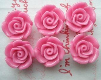 sale ME--11 High Quality  Rose cabochons 6pcs HOT PINK 18mm