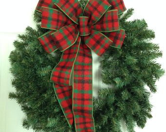 Christmas Wreath Bow / Christmas Plaid Bow / Red and Green Plaid Decorative Bow / Xmas Wreath Bow / Christmas Bow / Handmade in wired ribbon