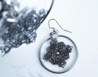 Winter snowflake silver hoop earrings