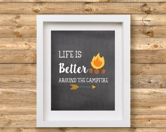 Life is Better Around the Campfire Printable | Camping Print Wall Art | Camping Decor | Glamping Printable | Glamping Decor | Camper Decor