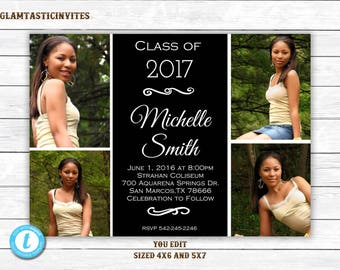 Graduation Invitation, Grad Invite, Graduation Template, Class of, High School Graduation Invitation, College Graduation Invitation,You Edit