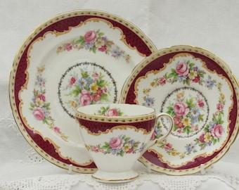 Vintage Foley Tea Cup and Saucer with Side Plate, E B Foley, Windsor Tea Cup Trio