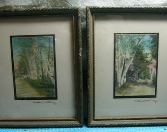 Vintage Wallace Nutting Miniature Photos, New Hampshire Birch and Country Road Scenes, Set of 2 Original Hand-Colored Photos, Landscapes