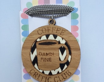 Laser cut wood necklace - Damn Fine Coffee Critic Club Twin Peaks Agent Cooper handpainted