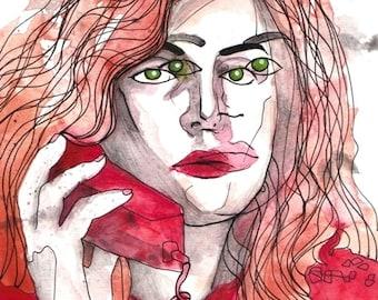 Videodrome * Debbie Harry * David Cronenberg Watercolor * original artwork