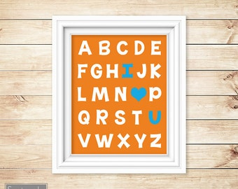 Orange Blue Nursery Wall Art Alphabet I love You Printable Heart ABC's Boy's Room Decor Printable 11x14 Digital JPG Instant Download (42-2)
