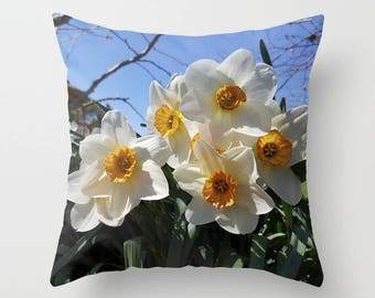 Gold and White Narcissus throw pillow OR pillow cover | decorative pillow, home decor, living room decor, nature inspired, nature lover gift