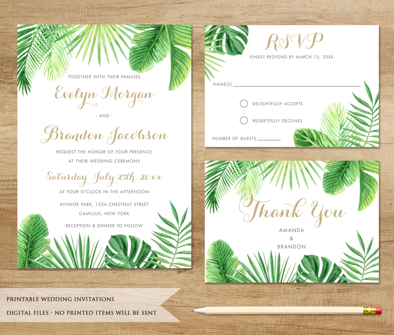 Tropical Wedding Invitations: Tropical Wedding Invitation. Tropical Leaves. Beach Wedding