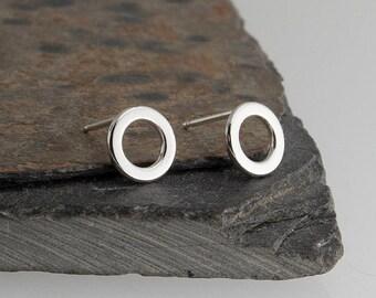 7mm Flat Ring Studs, Tiny Earrings, Modern Jewelry, Ring Studs, Post Earrings, Sterling silver, Stud Earrings, Minimalist Earrings, Handmade