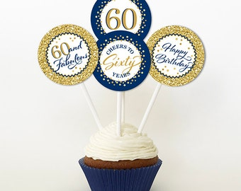 60th cupcake toppers Etsy