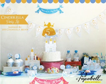 Cinderella Party Kit. Complete Set Cinderella Party Printables. DIY Cinderella birthday party. Personalized Cinderella Birthday Kit.