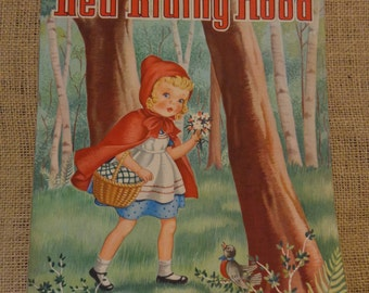 Vintage Little Red Riding Hood Book Cover, by Doris Stolberg, 1945 Whitman Publishing Co
