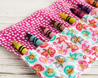 Crayon roll, Monkey, Crayon holder, Pencil roll, Gift for girls, Gift for boys, Birthday party favours, Back to school, Art, Colouring
