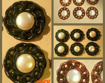 6 cabochons resin mesh chain & beads
