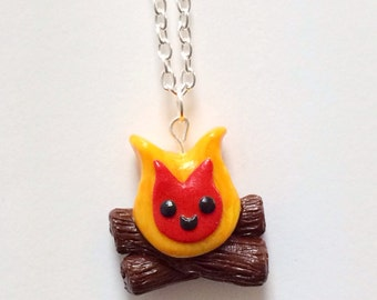 Kawaii Campfire Charm Necklace Polymer Clay Miniature Jewelry, Camping, Novelty Gift