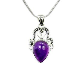 Amethyst Protection Stone Sterling Silver Necklace Pendant Snake Silver Chain X914