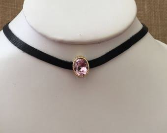 Choker necklace, pink rhinestones choker necklace, Pink and black choker necklace.