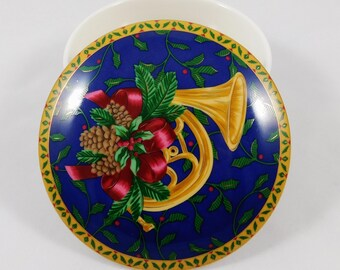 Mikasa Holiday Christmas Trinket Box, Vintage, 1970s, Cobalt with Gold French Horn, Holly, Pine Cones, Red Ribbons, Made in Japan