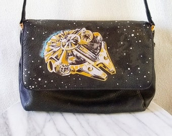 Millennium Falcon Star Wars Inspired HAND DRAWN Upcycled Black Leather Shoulder Purse