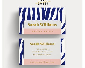 Business Card Template, Zebra Pattern Background, Beautician Branding, Makeup Artist Stationery, Gold Business Card, Modern Premade branding