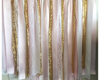3x3 Sparkly PINK and GOLD white fabric GARLAND, backdrop, bridal shower, first birthday cake smash