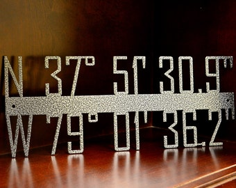 Coordinates Sign - Custom Coordinates - Metal Sign