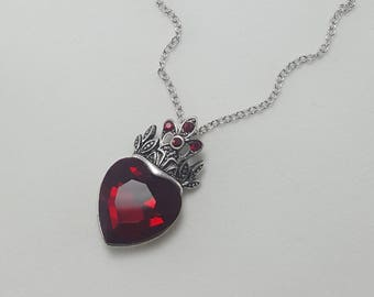Queen of Hearts Necklace, Alice in Wonderland Jewelry, Evil Queen Necklace, Ruby Heart and Crown Necklace
