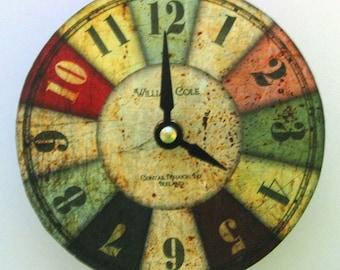 Small clock. Shabby chic vintage rusty metal clock. CD clock. Recycled CD. Vinyl clock.