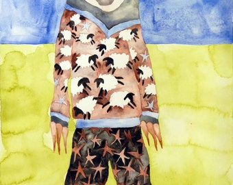"Sloth #6 by Katie Hoffman, a sloth wearing sheep pajamas, one-of-a-kind original watercolor painting 16"" x 12"""