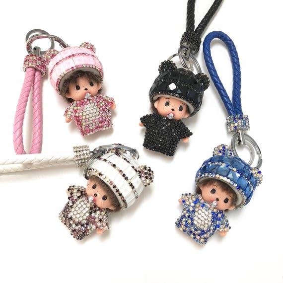 Rhinestone Crystal Monchhichi Doll Keychain, Bling Keychain, Bag Charm