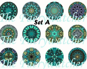 Mandala Magnets, Pin Back or Flat Back Buttons, 5 or 12ct sets, Variety of Colors Available, Party Favors, Kaliedescope art
