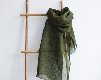 Linen Scarf / Moss Green Colour / Unisex Scarf