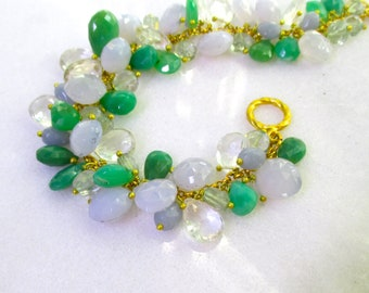 Fantastic Chrysoprase, Holly Chalcedony Cluster Bracelet with Ice Quartz in 22kg Vermeil...