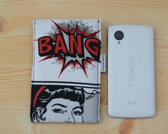 Superhero case,popart phone case,phone cases,smartphone case,comic print case,comic fabric,bang phone case,quilted case,superhero fabric